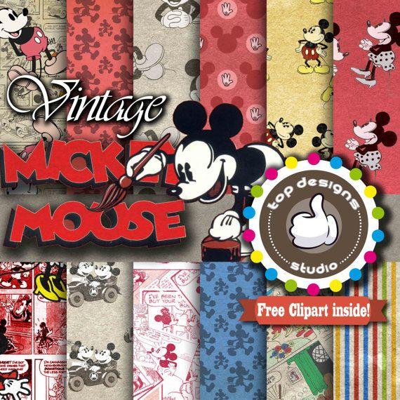Vintage Mickey Mouse Digital Paper : VINTAGE by Topdesignsstudio
