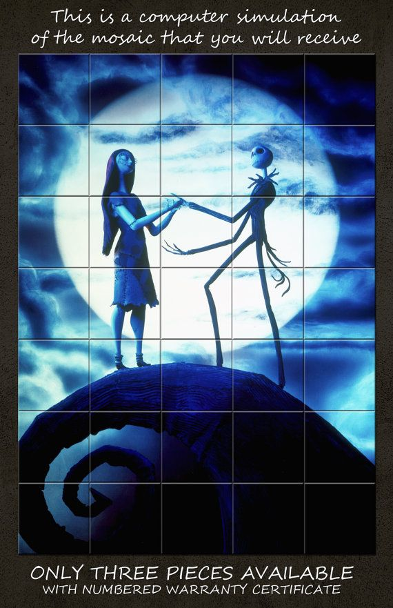 Jack and Sally on Spiral Hill tile art wall by TerryTiles2014