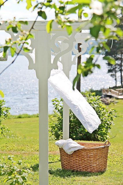 Blowing in the breeze...would love to have a clothes line like this!