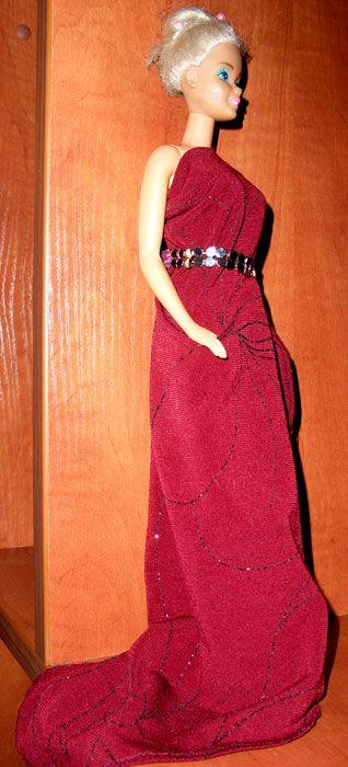 doll, barbie, dress, red
