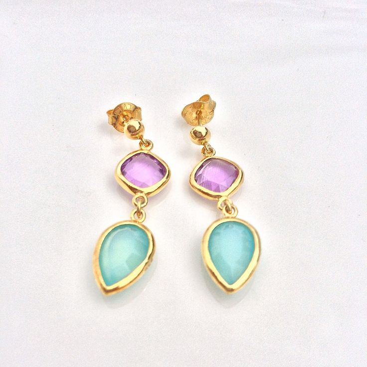 Sterling Silver / Gold Plated / Amethyst and Chalcedony Drops / Handmade / 100% Natural Semi-Precious Stones / $50 /  LOTUS by leslie ann / Follow on Instagam @lotus_by_leslie_ann / For purchases email lotusbyleslieann@gmail.com