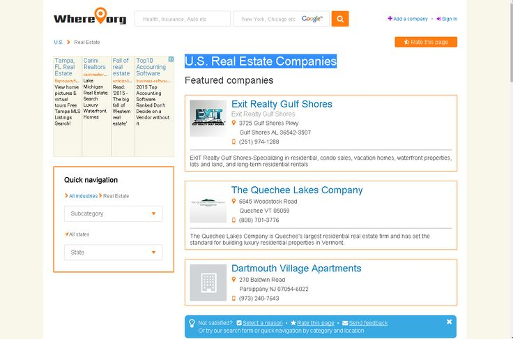 U S Real Estate Companies Real Estate Companies Real Estate