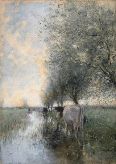 Willem Maris The Hague 1844 – The Hague 1910 ALL ART PIECES BY THIS ARTIST Cows Watering Late 19th c. Watercolour, gouache 55.3 x 39.8 cm Gift of Dr. Frances Schoning's family, inv. Dr.1995.24