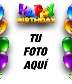 Tarjeta de cumpleaños con borde de globos de colores y texto de HAPPY BIRTHDAY en letras de colores. www.fotoefectos.com