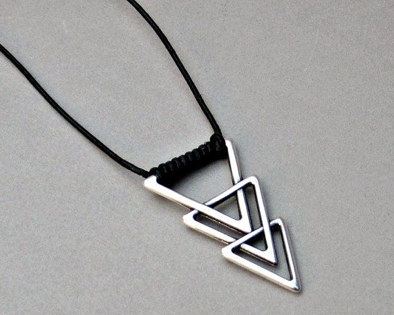 Mens Triangle Necklace Geometric Silver Long Leather by GUSFREE