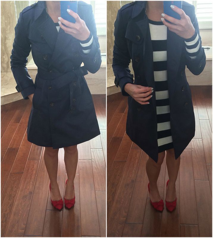 StylishPetite.com | Review: Banana Republic Classic Petite Trench Coat and Halogen Suede Bow Pumps