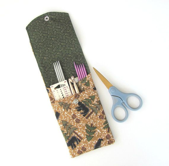 Black bears, Camping Knitting Needle Case DPN or Crochet Hooks Case Knitter's Gift