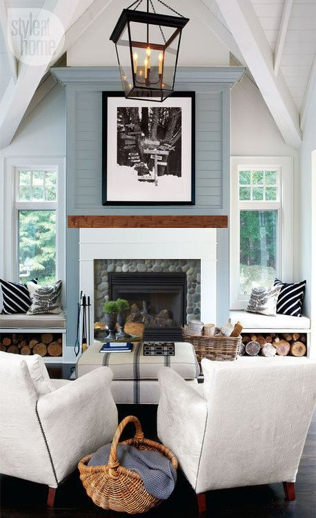 Love this river rock idea its stands out more which I like but stays neutral. Inspiration Fireplace 6