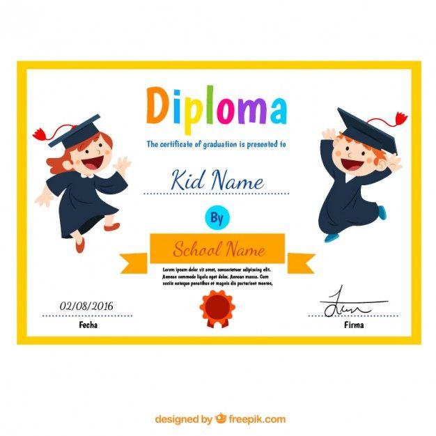 Diploma Niño con los niños divertidos Vector Gratis