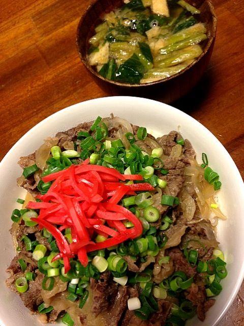 本日は、スタイリストの息子一人分の夕食なのだ!  メニューは      牛丼       野菜の味噌汁  以上      これも簡単なり - 64件のもぐもぐ - つゆだくの牛丼 by yukagorilla
