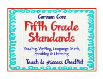 Common core language standards 5th grade checklist quot teach amp assess