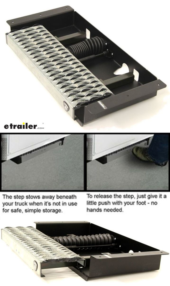 Easily get to your ladder rack, toolbox or cargo area with this utility platform step.   Step mounts to the frame of your commercial, industrial or utility truck with a flat, platform-style chassis. To release, push the step with your foot and it will unlatch and extend To stow, push on the step again to lock it in place