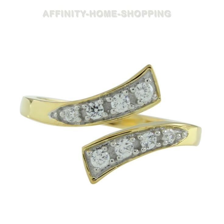 White Diamond 14k Yellow Gold Over Adjustable Bypass Toe Ring Free Size #AffinityHomeShopping #Bypass