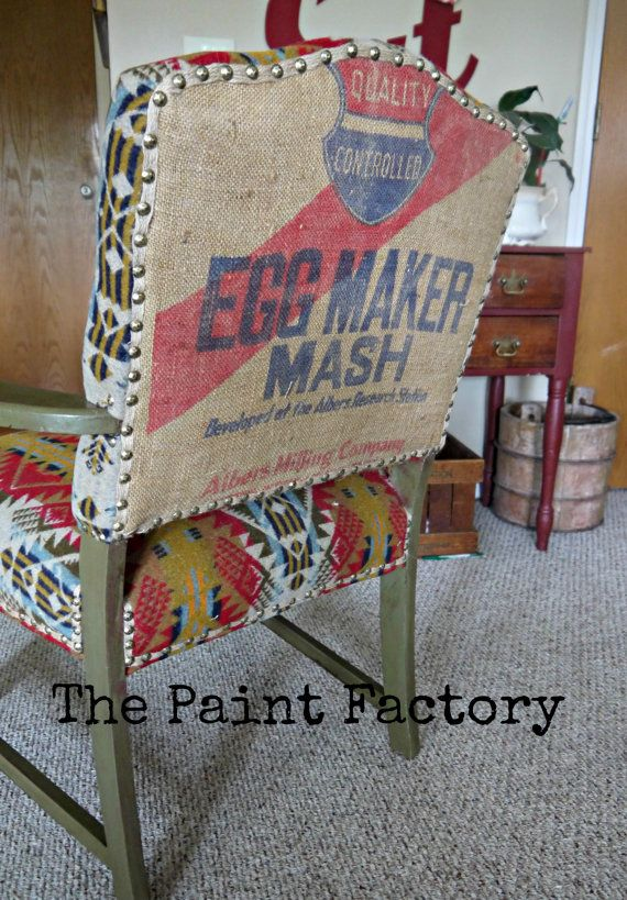 Upholstered Armchair With Vintage Grain Sack Back Grain