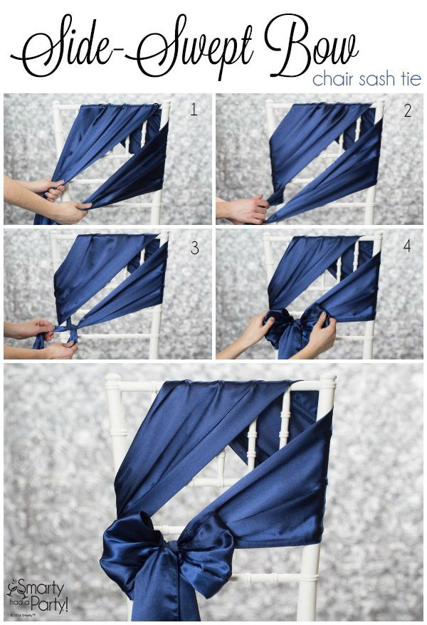 DIY satin ribbon sash wedding chair decor