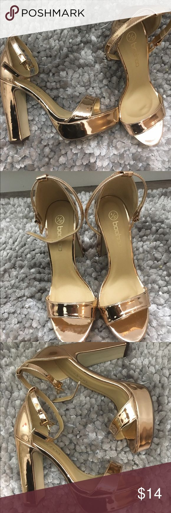 Rose Gold Chunky Heels ll Platforms Rose gold chunky heels with ankle straps, never worn before! Great for dances, formals, going out, etc. Glossy finish. Brand listed used for exposure, actually purchased from boohoo. Nasty Gal Shoes Heels
