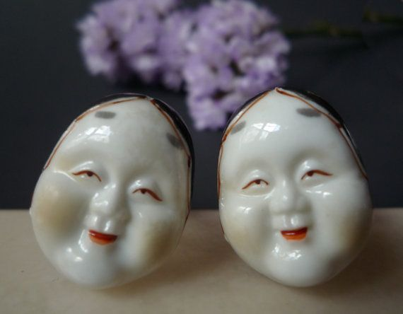 Vintage Toshikane Cuff links, Mid Century Japanese Porcelain Jewellery, Zouonna Noh Mask Cuff-links, Mid Century Asian Accessories,  Boxed