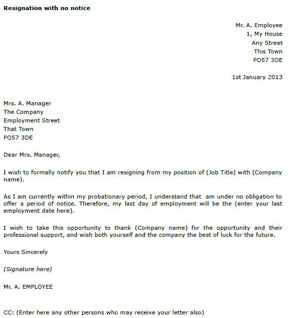 Resignation Letter With Notice Period from i.pinimg.com