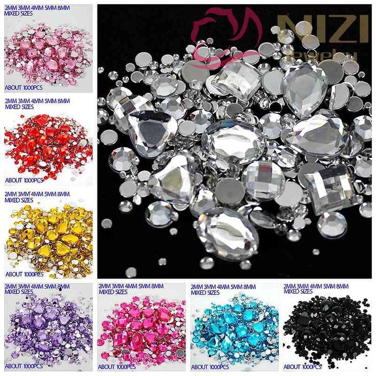 Gemengde Maten 1000 stks Vele Kleuren Ronde Acryl Losse Plaksteen Rhinestone Nail Art Crystal Stenen Voor Bruiloft Kleding Decoraties