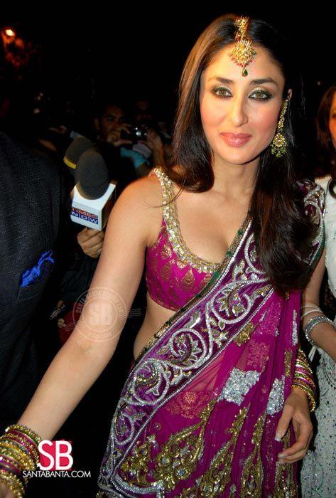 Kareena Kapoor in fuschia with hints of mint. Love her makeup as well!