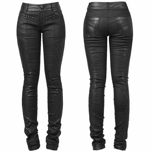 Sexy Black Skull Slim Fit Skinny Punk Rock Fashion Pants for Women SKU-11404277