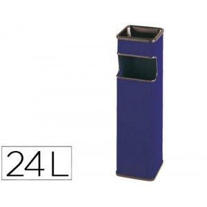 Estupenda papelera cenicero metalico con forma cuadrada en color azul, con recogecolillas y embellecedores de su abertura rectangular pintados en epoxy negro. Capacidad 24 litros
