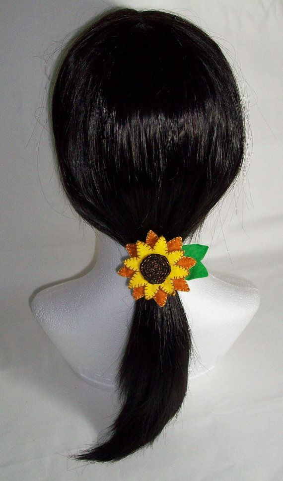 Sunflower felt flower hair bobble, hair tie, pony tail holder. Approx: 2 3/4 inch / 7cm across. FREE SHIPPING $16.00