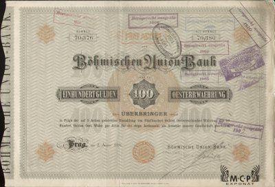 Muzeum cennych papiru A1349 Böhmische Union-Bank [K. k. priv. Böhmische Union-Bank] ( Česká banka Union ) 1891