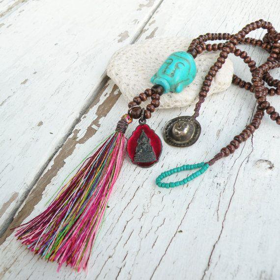 Long Buddha Tassel Necklace Dark Brown Wood Beads by GypsyIntent, $66.00