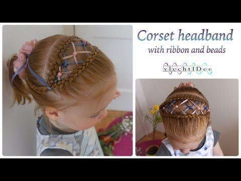Corset headband with ribbon and beads - Korset haarband met lint en kralen - YouTube #hair #cute #girls #hairstyles #beauty #tutorial #DIY #braids #braiding #trenzas #peinados #koca #ribbon #beads #corsetbraid
