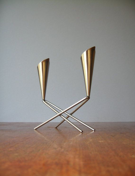 Mid Century Danish Modern Stainless Double Candle Holder by luola, $24.00
