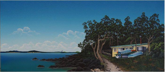 BACH 28 - by DONNA MASSEY #NZartist #NZscene #rangitoto #beach #bach
