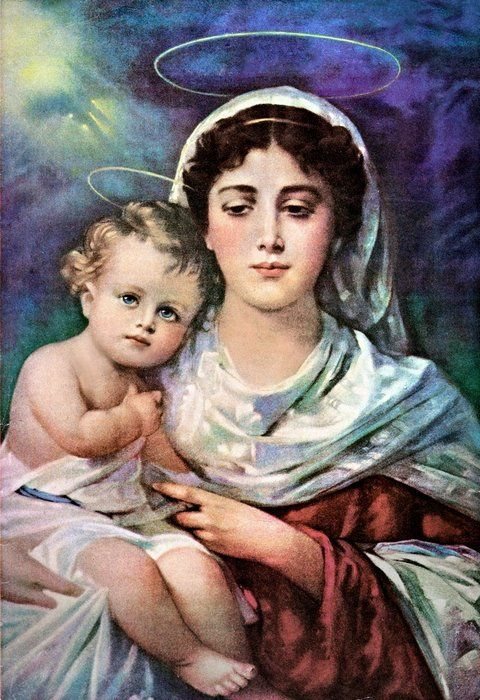 Classic Christmas Madonna images. The Virgin Mary and the infant Jesus.