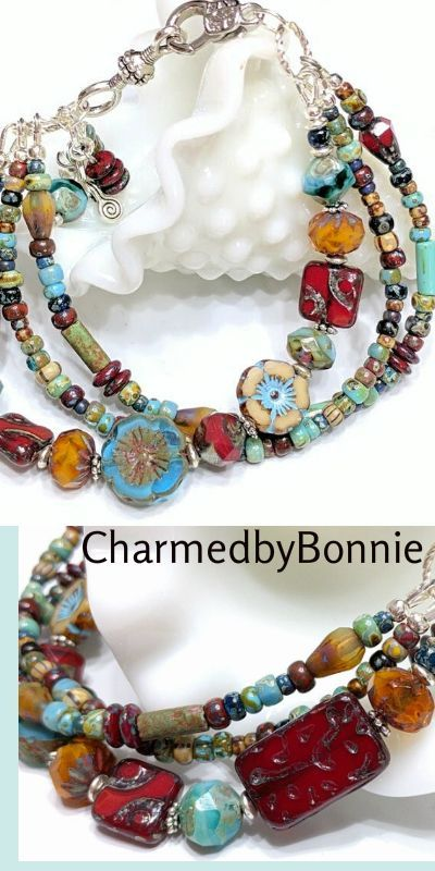 Amazing Boho Chic Chunky Bracelet.  Gorgeous Color Glass Beads. A MUST HAVE! Check it out.