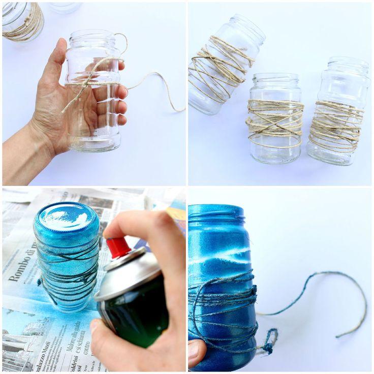 Come realizzare una lanterna ispirata al mare con barattoli di vetro, spago e un po' di vernice spray. Tutorial completo sul mio blog.