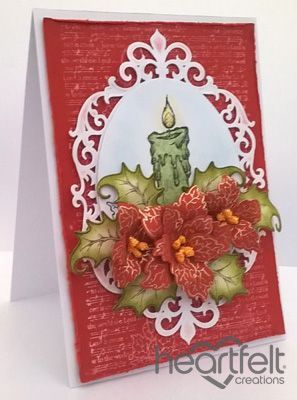 Sparkling Poinsettia Candle Christmas card from #heartfeltcreations