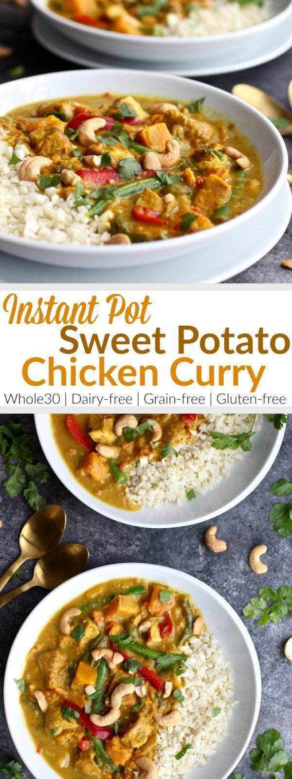Instant Pot Sweet Potato Chicken Curry is heaven in a bowl. It comes with a little kick from the spices and a little sweet from the sweet potatoes. Every bite is just a little deliciously different | Whole30 | Paleo | Gluten-free | Grain-free | Dairy-free | http://therealfoodrds.com