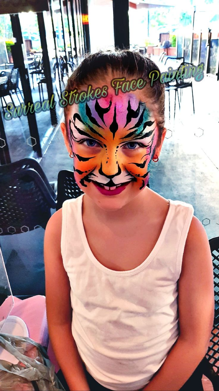 Rainbow Tiger inspired by Ashley Pickins  #facepaint #tiger #girldesign #colour