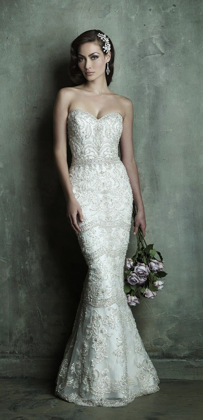 White and Gold Wedding. Sweetheart Neckline, Lace Trumpet Wedding Dress. Allure Couture Spring 2014 Bridal Collection  | bellethemagazine.com