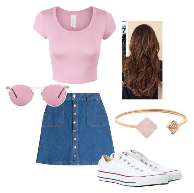 """Super cute summer outfit❤️"" by paulinefrydkaer on Polyvore featuring HUGO, Converse, Oliver Peoples and Michael Kors"