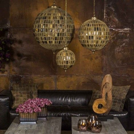 PTMD Sparkle brown glass lamp ball (665843) - PTMD - Warm & Sjiek