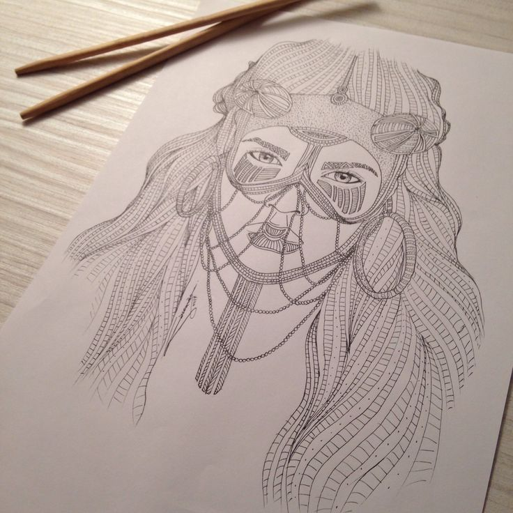 My drawing, Tribal 011, portrait of a girl! You like this picture ?