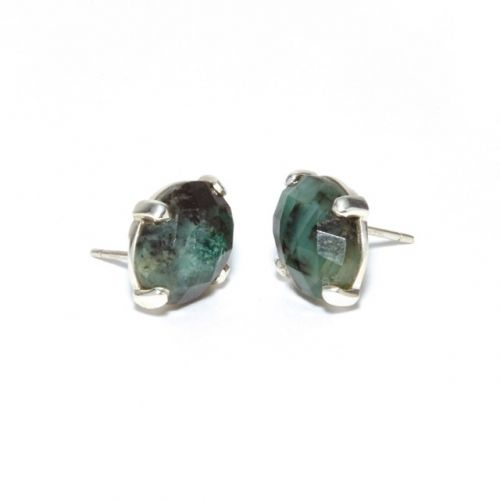 Emerald Studs Silver