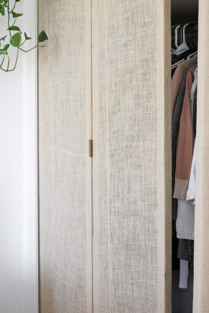 Here's how I made my closet doors for $11 dollars each! I wanted a rattan look so we used burlap to line them! You can also use thin plywood if you want something sturdier. :D Come check our the full tutorial.