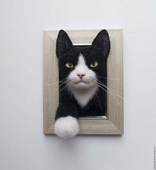 Животные ручной работы. Ярмарка Мастеров - ручная работа. Купить Панно кот Феликс. Handmade. Чёрно-белый, домашние животные