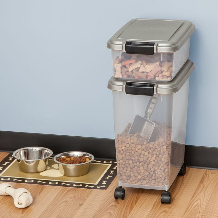 Features:  -33 Quart container stores up to 25 lbs.  -12 Quart container stores up to 10 lbs.  -Great for dog food, cat kibble and bird food.  -Set includes a 25-pound airtight container, 10-pound air