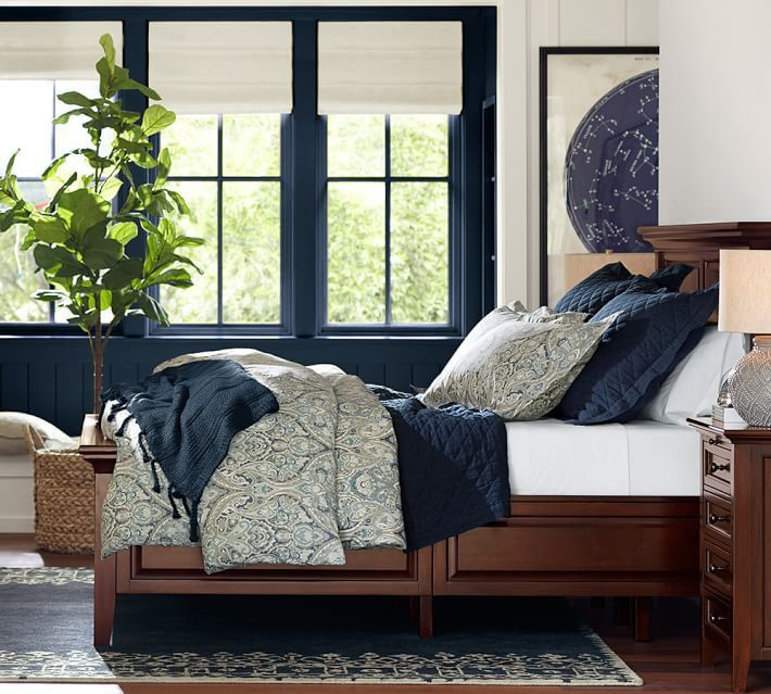 debbie this is also my bedroom but i think the blue is a little more indigo than navy pottery barn duvet master