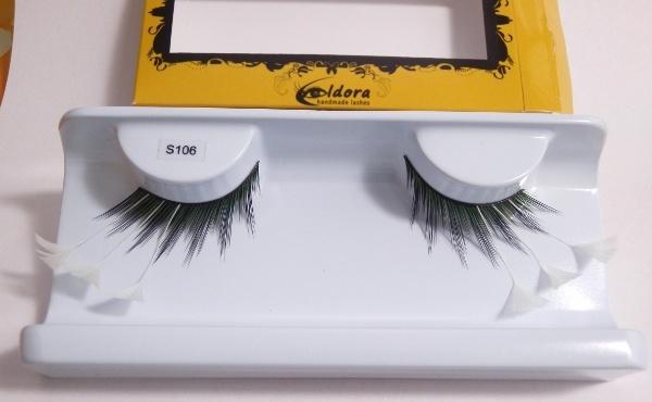 Ciglia finte soft nero-verde con punte di piume bianche S106 Eldora lashes