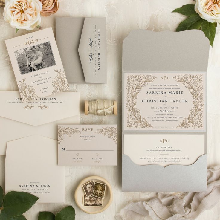 Secret Garden Pocketfold Wedding Invitation
