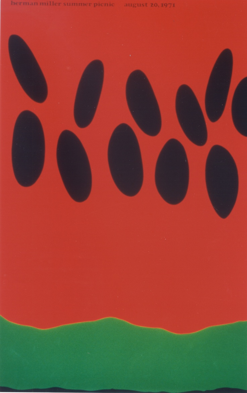 1971 Herman Miller Picnic Poster by Steve Frykholm: Watermelon